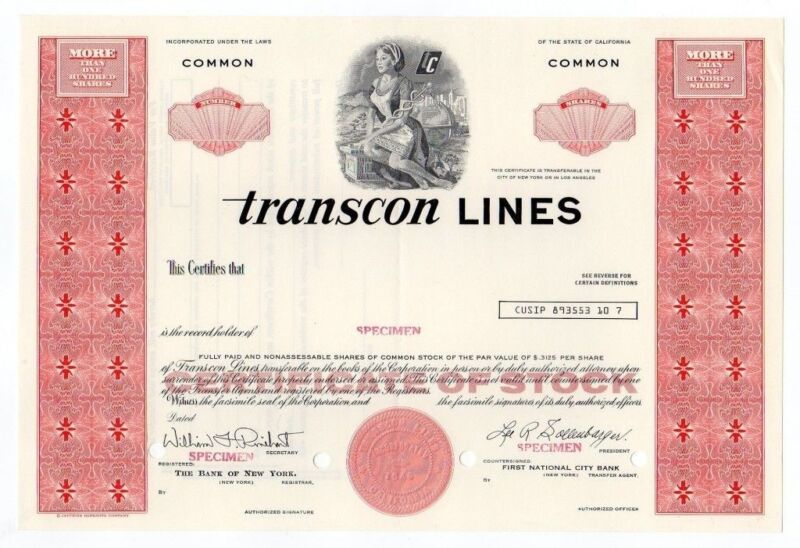 SPECIMEN - Tanscon Lines Stock