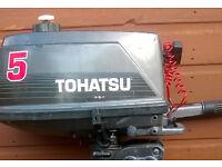 "Tohatsu 5 HP Outboard 2 Stroke Short Shaft 18"" Transom M5B 5HP 1996"