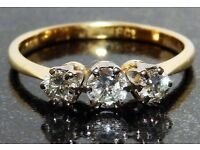 18 carat Gold 3 Stone Diamond Ring
