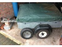 Galvanised trailer with tarp cover approx 3ft by 4ft great size for pulling with a car