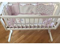 Swinging crib with mattress & bedding set £45