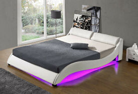 Luxury curved White Upholstered LED Bed with Slatted frame