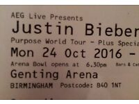 2 X Justin bieber tickets (price is for both) - Genting Arena - B'ham 24/10/16