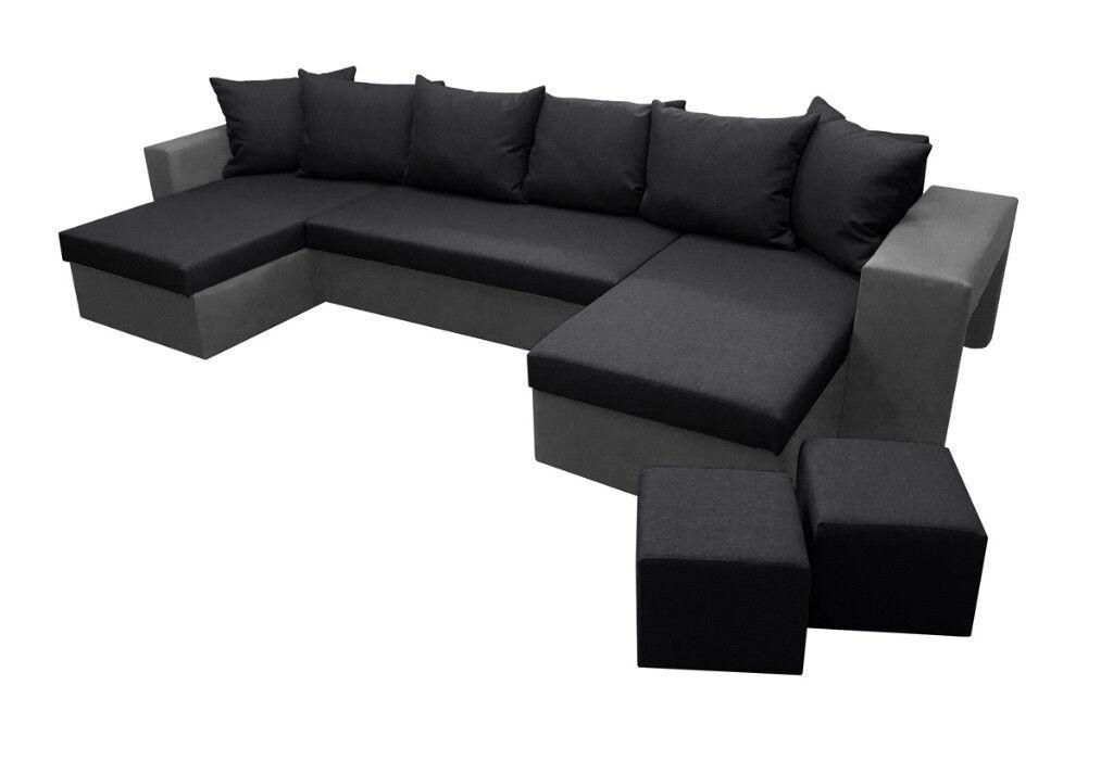 Brand New Fabric U Shaped Corner Sofa Bed Storage 2 Footstools Free