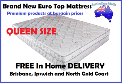 FREE DELIVERY Queen Size AUSTRALIAN MADE Euro Top Mattress NEW