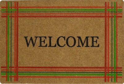 "OUTDOOR DOORMAT W/COIR (18""x27"") CHRISTMAS, CRISS CROSS STRIPES, WELCOME, MOHAWK"