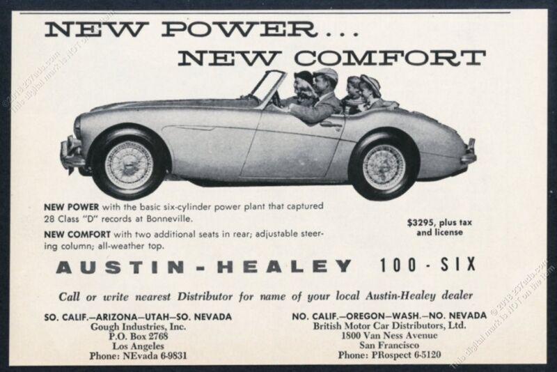 1957 Austin Healey 100-Six 100 6 car photo vintage print ad