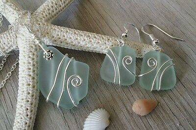 Made in Hawaii, Aqua sea glass necklace + earrings jewelry set