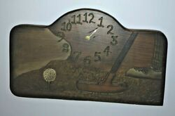 Vintage Antique Handmade Carved Stained Painted Wood Golf Clock 1912 Indiana