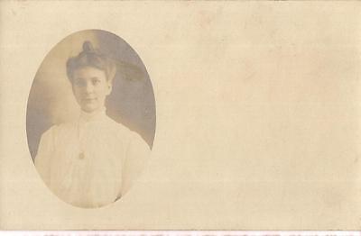 Edwardian Fashion Coiffed Hair Bun Woman UNUSED 1900s Real Photo Inset Postcard