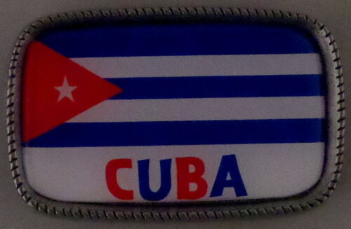 CUBA FLAG Antique Silver Belt Buckle USA MADE Cuban