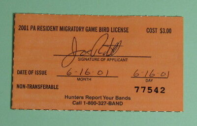 2001 Pennsylvania Resident Migratory Game Bird Hunting License Tag...Free Ship!