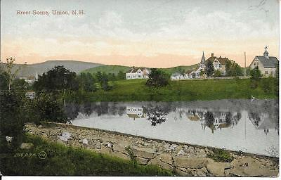 River Scene Union NH nice postcard postally used in 1908