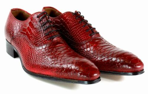 Ivan Troy Red Crocodile Handmade Men Italian Leather Dress Shoes/Oxford Shoes