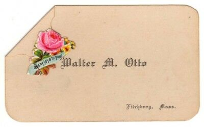 Vintage Beautiful Victorian name card Walter M Otto Fitchburg Mass Many Joys