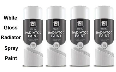 4 x Radiator Spray Paint Quick Dry Resistant Non Yellowing White Gloss - 200ml