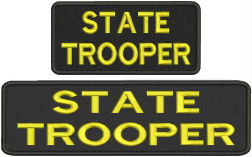 state trooper embroidery patches 3x10 and 3x6 hook yellow
