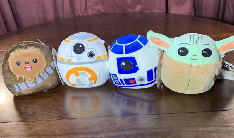 """New Star Wars Squishmallow 5"""" Plush Set Bundle Baby Yoda The Child, Chewy, R2-D2"""