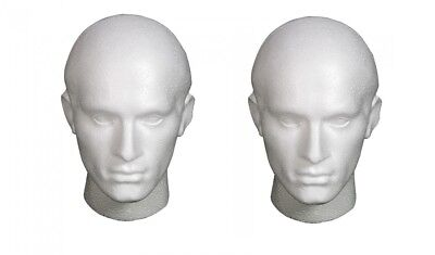 2 X POLYSTYRENE MALE WIGS HATS FASHION ACCESORIES DISPLAY HEAD MANNEQUIN