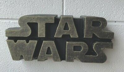 STONE GARDEN STAR WARS LOGO LARGE WALL PLAQUE DETAILED GIFT GOLD ORNAMENT