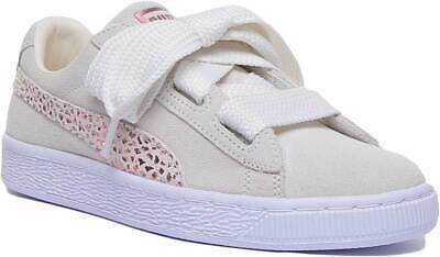 Puma Suede Heart Jr Youth Suede Leather Trainer In Cream Size UK 3 - 8