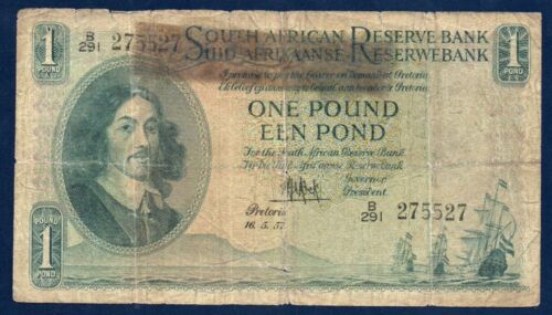 South Africa VG Note 1 Pound 1957 P-92