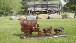 Horse Team & Wagon Carving in Ironwood