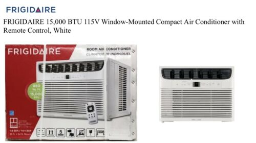 FRIGIDAIRE 15,000 BTU 115V Window-Mounted Compact Air Conditioner with Remote