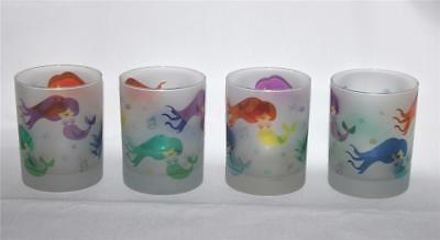 4 Culver Frosted Colorful MERMAIDS Seashells DOF LowBall Glass Tumblers NEW HTF