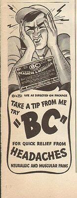 1943 vintage AD BC Headache Powders Cute Cartoon 062615
