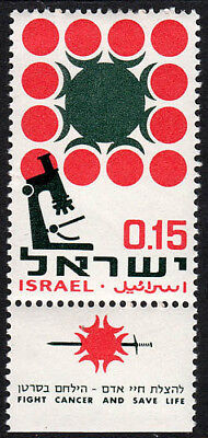 Israel 333 tab, MNH. Campaign against cancer. Microscope and Cells, 1966