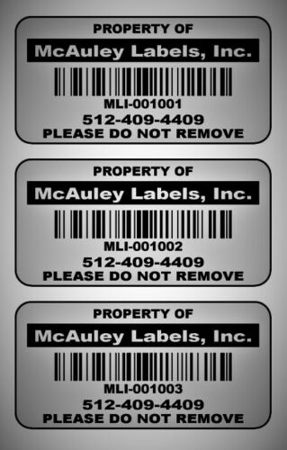 """2"""" x 1"""" Custom Mat Silver Metalized Polyester Asset Labels / Property Tags"""