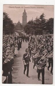 Church-Parade-All-Saints-Church-Aldershot-Vintage-Postcard-214a