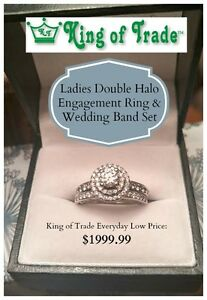 Double Halo Diamond Wedding Set - King of Trade