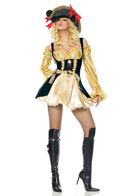 Leg Avenue 83321 Gold Marauder Wench Pirate Hallloween Costumes Size M Gold](Marauder Pirate)