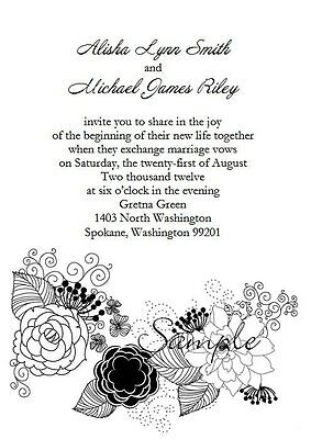 Black And White Wedding Invitations (100 Personalized Custom Black and White Floral Vintage Wedding Invitations)