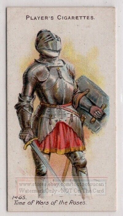 1465 A.D. Knight of War of Roses Era  Armor Weapons 100+ Y/O Trade Ad Card