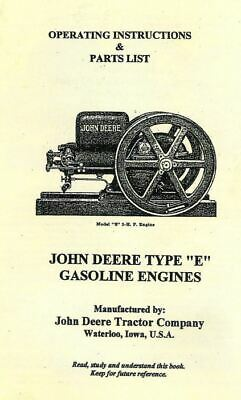 John Deere Model E Instruction Book Repair List Book Gas Engine Motor