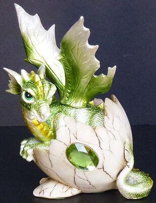 "PERIDOT    Birthstone Dragon in Egg Shell     AUGUST  Figure Statue H5.5"""