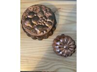 2 x vintage copper jelly moulds