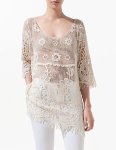 Zara Embroidered Crochet Blouse 6