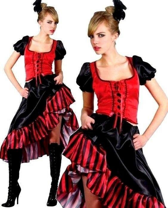 French Can Can Saloon Girl Fancy Dress Moulin Rouge Film Costume