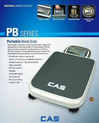 Pb-300 By Cas Portable Bench Scale 300 X0.1 Lbnteplegal For Tradenew