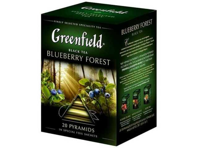 GREENFIELD BLUEBERRY FOREST BLACK TEA 20 PYRAMIDS