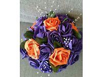 Bouquet Purple and Orange Silk