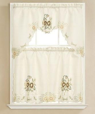 3pc Beige with Embroidered Gold Sunflower Kitchen/cafe Curtain Tier and Swag Set ()