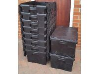 60ltr Heavy Duty Plastic Storage Totes / Crates / Moving Boxes ALC Croc Lid Stackable
