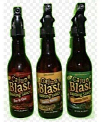 Cajun Blast Sauce Spray 3pk. Garlic Butter, BBQ, And Lemon Herb. 10 Ounce