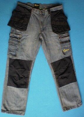 Arbeitshose Jeans Vintage Look mit  NAGELTASCHEN GR 42 - 56 - Baumwolle Vintage Hose Arbeit