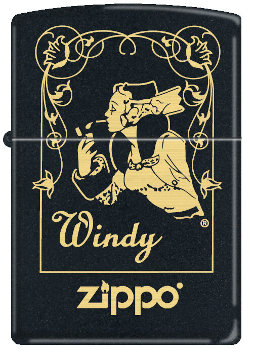 Zippo Windy Girl in Window Frame Black Matte Windproof Lighter NEW RARE